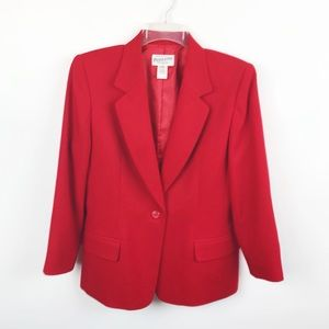 Vintage Pendleton Red 100% Wool 1 Button Blazer